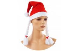 Новогодняя шапка с косичками