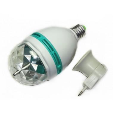 Вращающаяся диско-лампа с переходником Е27 в розетку