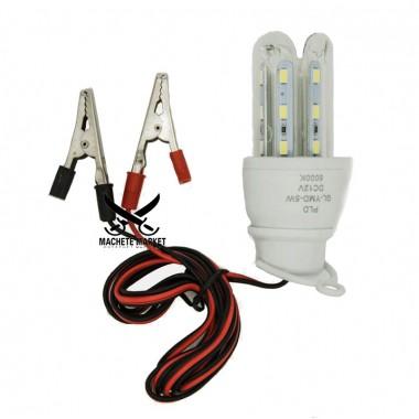 Led лампа (светильник) с зажимами для аккумулятора