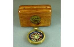 Компас круглый 10 см. в деревянной коробке