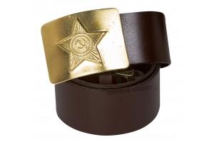 Ремень солдатский со звездой коричневый