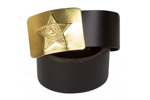 Ремень армейский черный со звездой