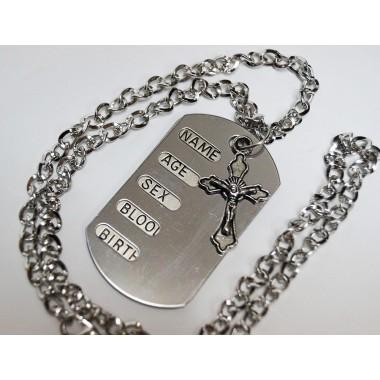 Жетон металлический армейский с крестиком