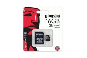Карта памяти micro SD 16GB Кingston с адаптером