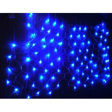 Гирлянда светодиодная сетка синяя