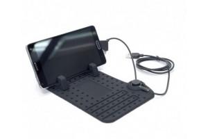 Держатель-коврик для телефона с USB-зарядкой