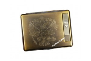 Портсигар с USB зажигалкой «Герб России»