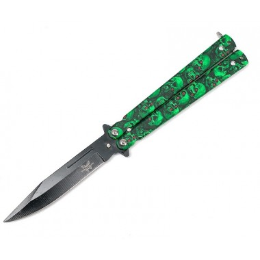 "Нож бабочка ""Зеленые черепа"""
