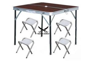 Складной туристический стол усиленный + 4 стула (85х80х70 см)