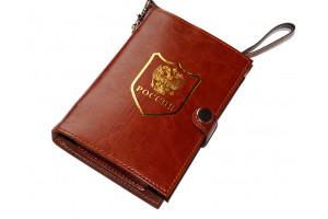 Фляжка подарочная в чехле с гербом РФ